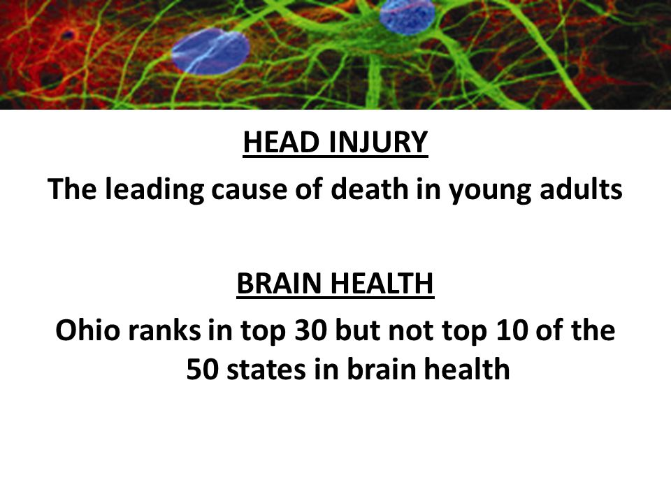 Importance of Neuroscience HEAD INJURY The leading cause of death in young adults BRAIN HEALTH Ohio ranks in top 30 but not top 10 of the 50 states in brain health