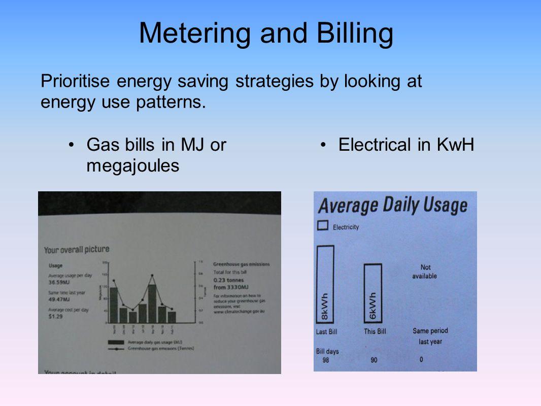 Metering and Billing Electrical in KwH Gas bills in MJ or megajoules Prioritise energy saving strategies by looking at energy use patterns.