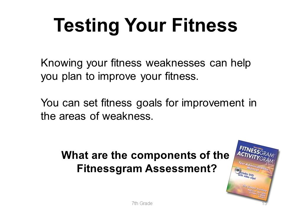 Testing Your Fitness Knowing your fitness weaknesses can help you plan to improve your fitness. You can set fitness goals for improvement in the areas