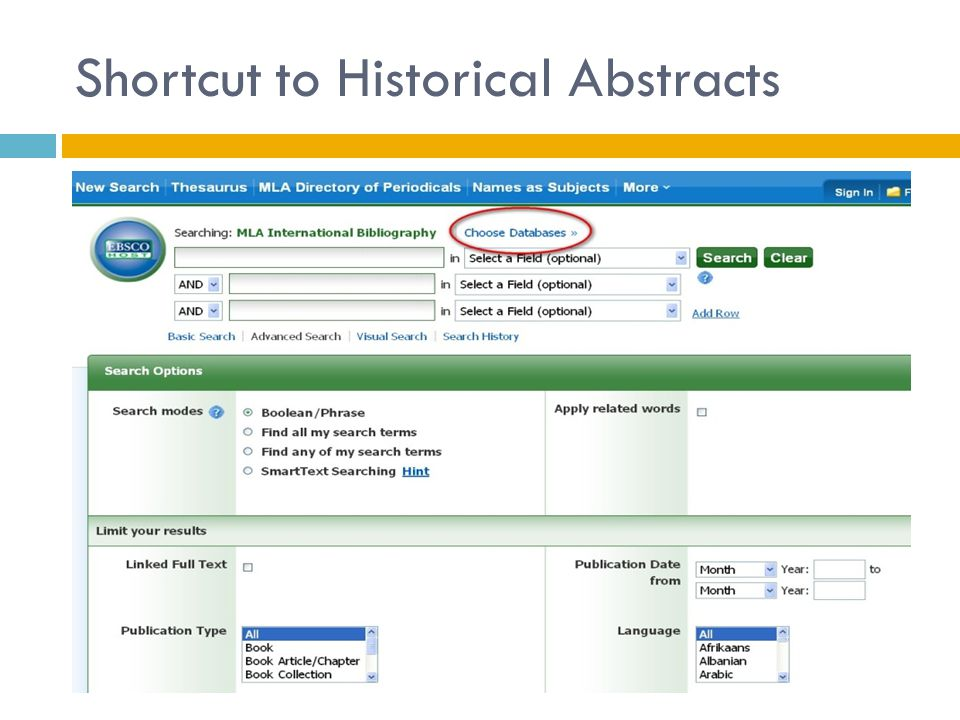 Shortcut to Historical Abstracts
