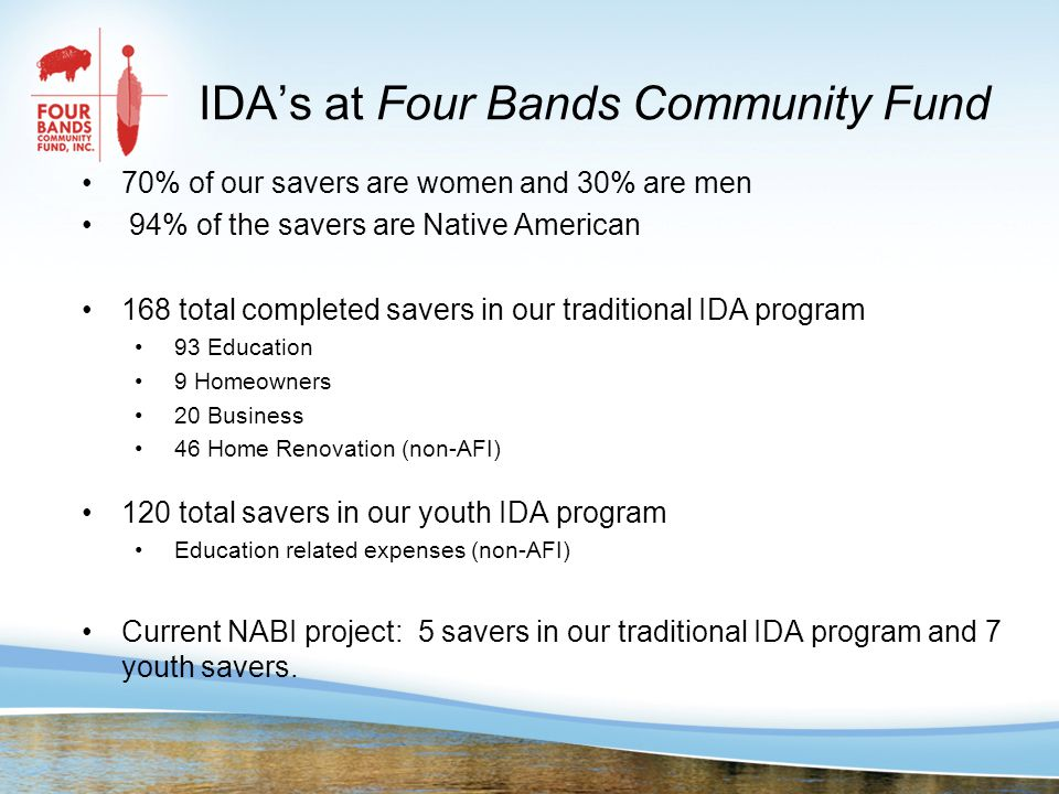 IDA's at Four Bands Community Fund 70% of our savers are women and 30% are men 94% of the savers are Native American 168 total completed savers in our traditional IDA program 93 Education 9 Homeowners 20 Business 46 Home Renovation (non-AFI) 120 total savers in our youth IDA program Education related expenses (non-AFI) Current NABI project: 5 savers in our traditional IDA program and 7 youth savers.