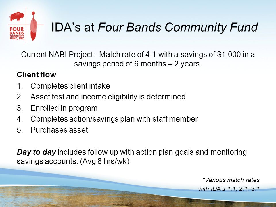 IDA's at Four Bands Community Fund Current NABI Project: Match rate of 4:1 with a savings of $1,000 in a savings period of 6 months – 2 years.