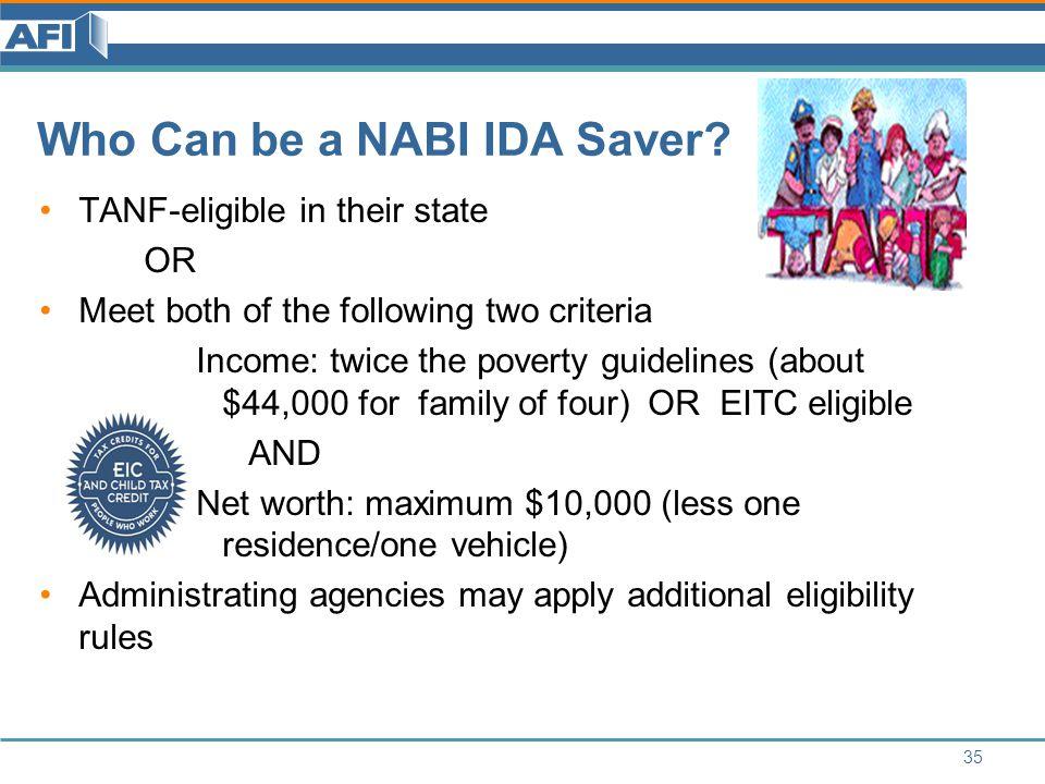 Who Can be a NABI IDA Saver.