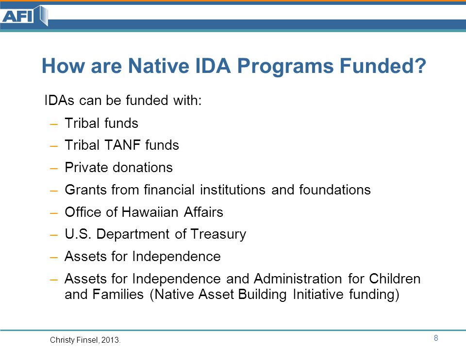 How are Native IDA Programs Funded.