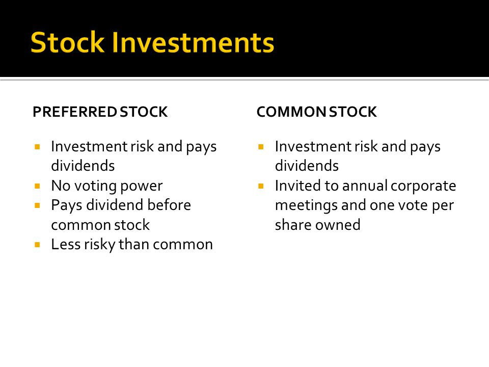 PREFERRED STOCK  Investment risk and pays dividends  No voting power  Pays dividend before common stock  Less risky than common COMMON STOCK  Investment risk and pays dividends  Invited to annual corporate meetings and one vote per share owned