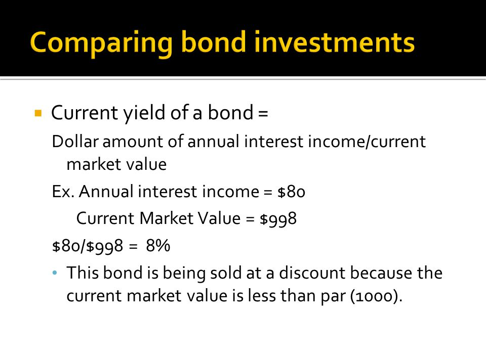  Current yield of a bond = Dollar amount of annual interest income/current market value Ex.