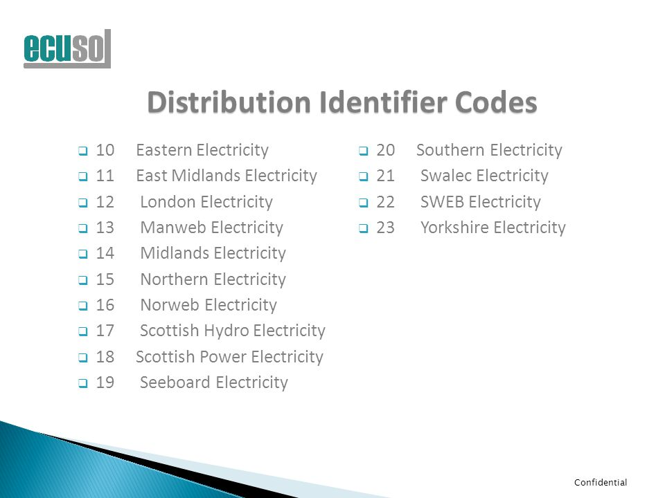 Confidential Distribution Identifier Codes  10Eastern Electricity  11East Midlands Electricity  12 London Electricity  13 Manweb Electricity  14 Midlands Electricity  15 Northern Electricity  16 Norweb Electricity  17 Scottish Hydro Electricity  18Scottish Power Electricity  19 Seeboard Electricity  20Southern Electricity  21 Swalec Electricity  22 SWEB Electricity  23 Yorkshire Electricity