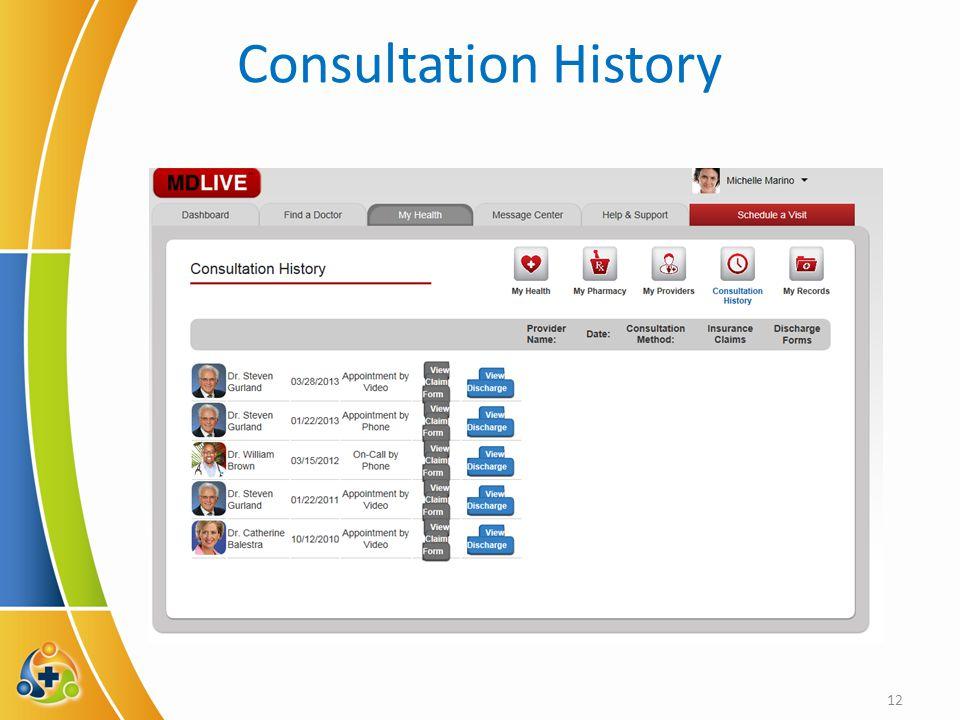 Consultation History 12