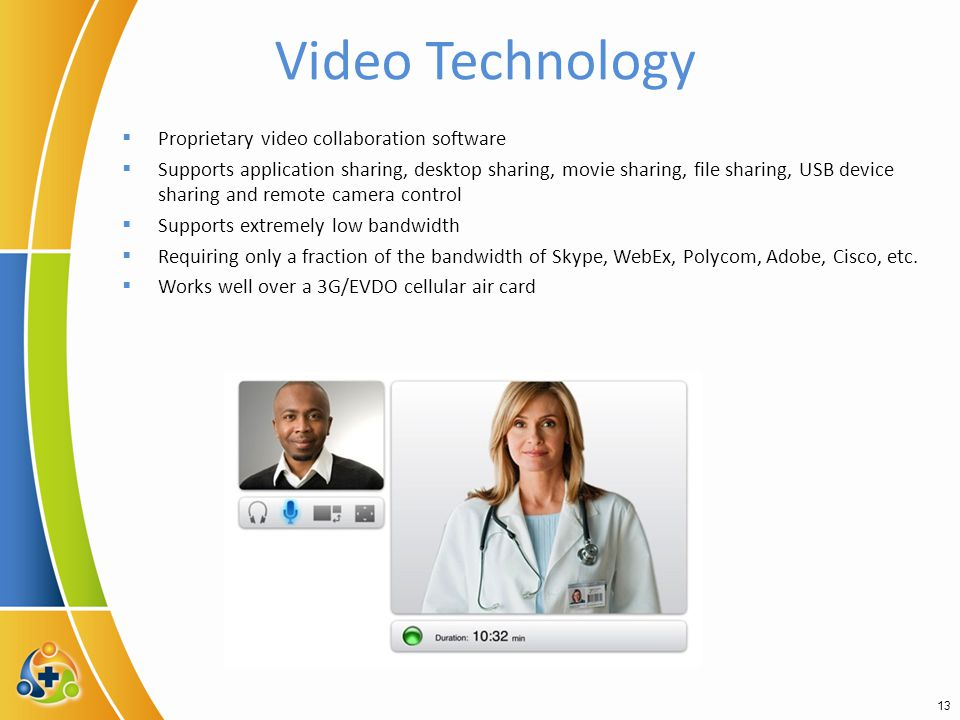 Video Technology  Proprietary video collaboration software  Supports application sharing, desktop sharing, movie sharing, file sharing, USB device sharing and remote camera control  Supports extremely low bandwidth  Requiring only a fraction of the bandwidth of Skype, WebEx, Polycom, Adobe, Cisco, etc.