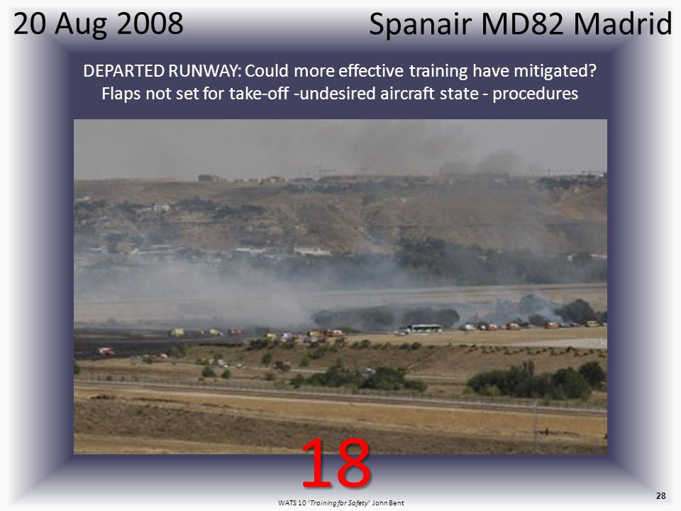WATS 10 'Training for Safety' John Bent 28 20 Aug 2008 DEPARTED RUNWAY: Could more effective training have mitigated.