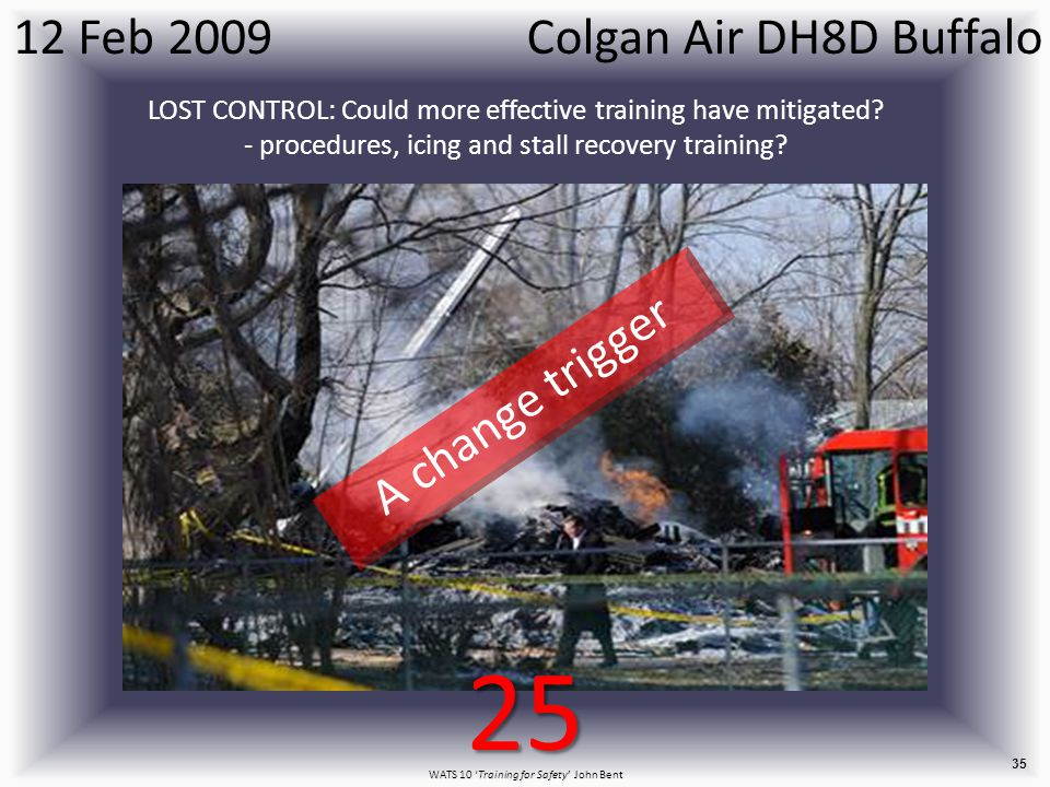 WATS 10 'Training for Safety' John Bent 35 Colgan Air DH8D Buffalo12 Feb 2009 LOST CONTROL: Could more effective training have mitigated.