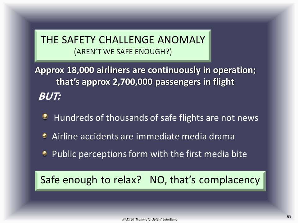 WATS 10 'Training for Safety' John Bent 69 BUT: Hundreds of thousands of safe flights are not news Airline accidents are immediate media drama Public perceptions form with the first media bite THE SAFETY CHALLENGE ANOMALY (AREN'T WE SAFE ENOUGH ) Approx 18,000 airliners are continuously in operation; that's approx 2,700,000 passengers in flight Safe enough to relax.