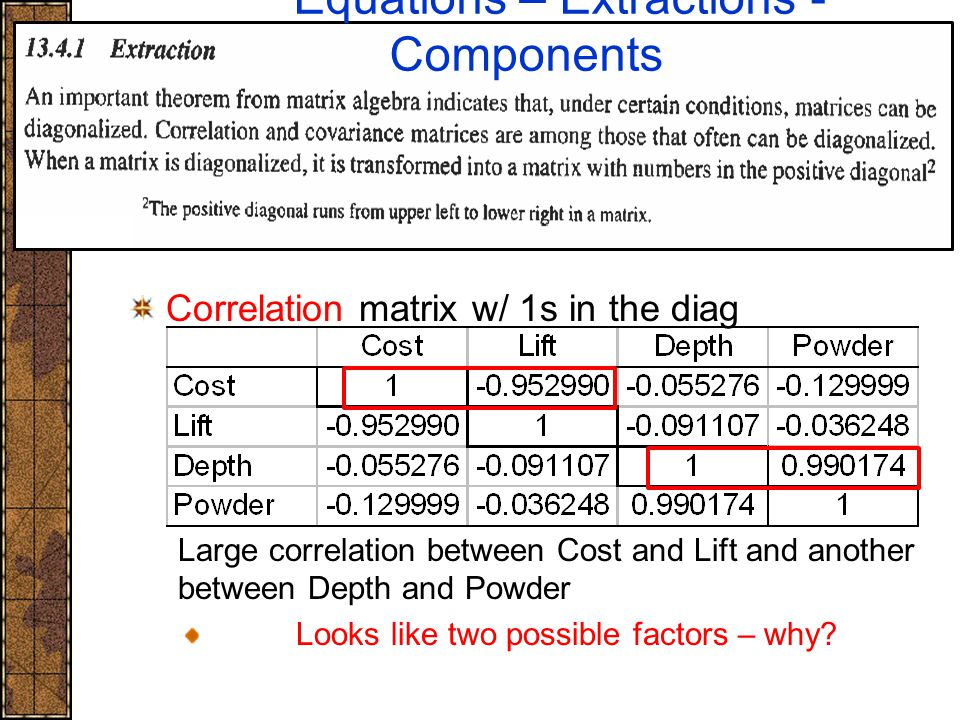 Correlation matrix w/ 1s in the diag Large correlation between Cost and Lift and another between Depth and Powder Looks like two possible factors – wh