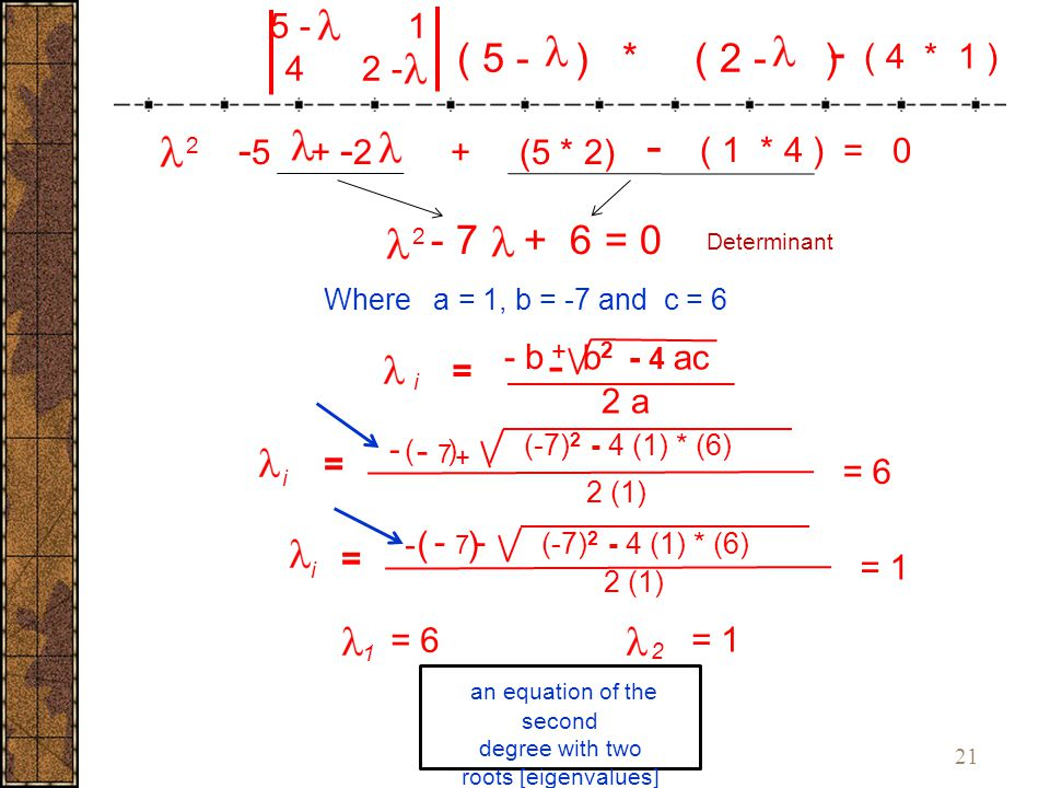21 i - 7 + = i - Where a = 1, b = -7 and c = 6 an equation of the second degree with two roots [eigenvalues] 2 (-7) 2 - 4 (1) * (6) 2 (1) (-7) 2 - 4 (