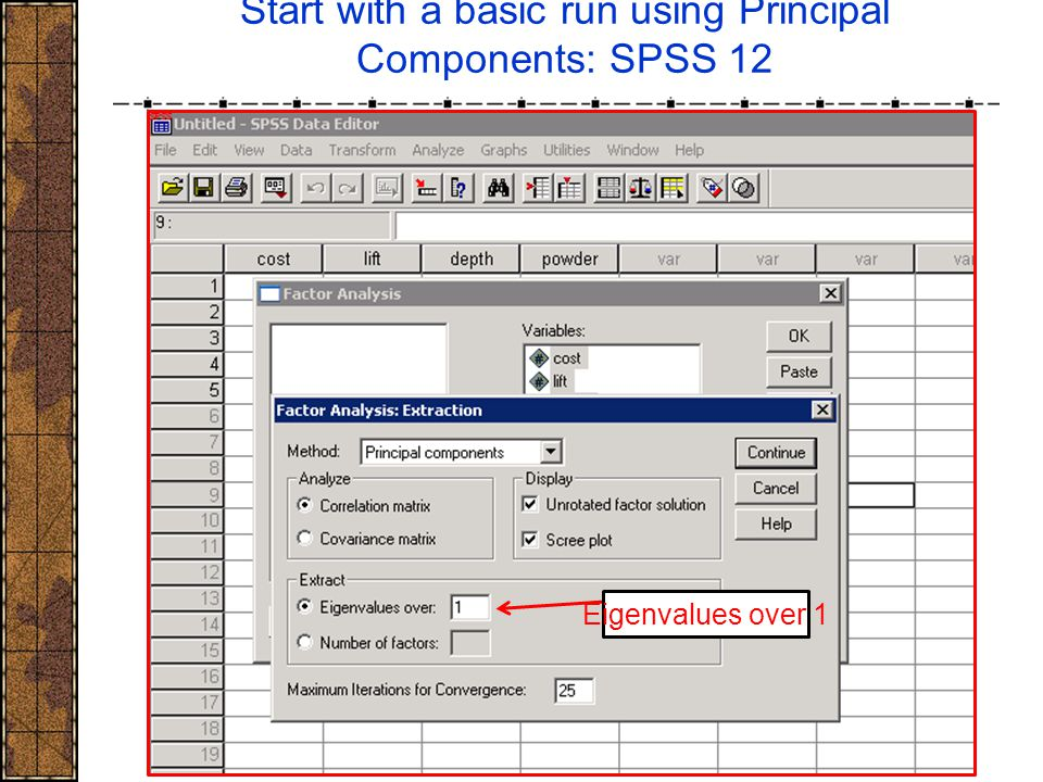 Start with a basic run using Principal Components: SPSS 12 Eigenvalues over 1