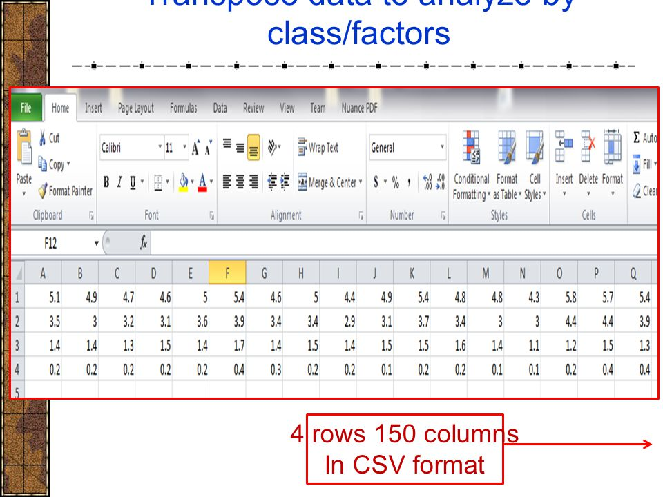 Transpose data to analyze by class/factors 4 rows 150 columns In CSV format