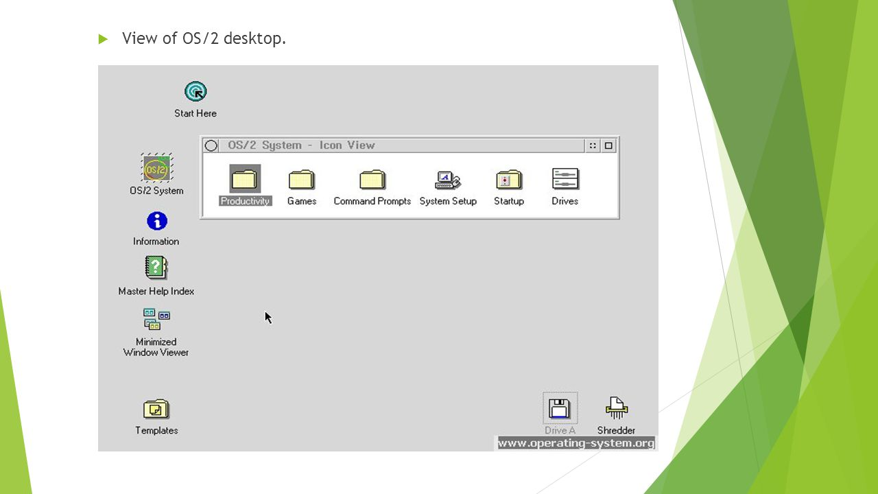  View of OS/2 desktop.