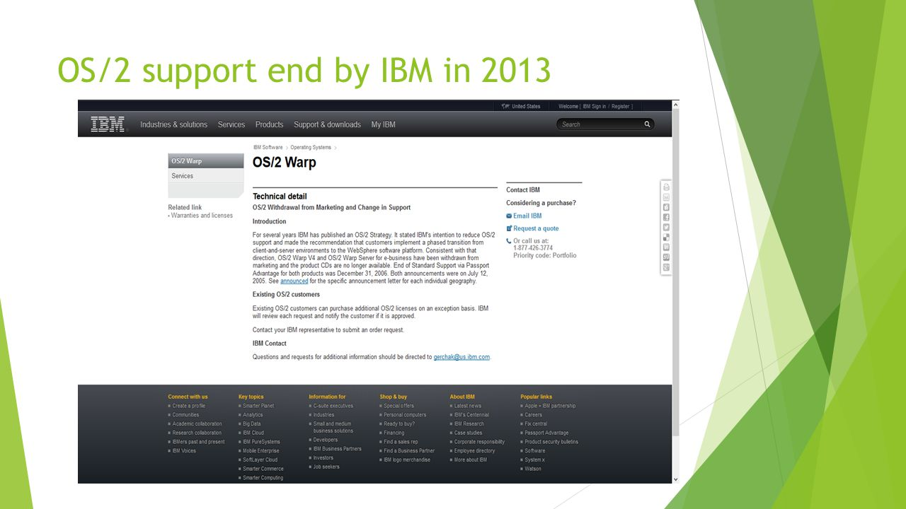 OS/2 support end by IBM in 2013