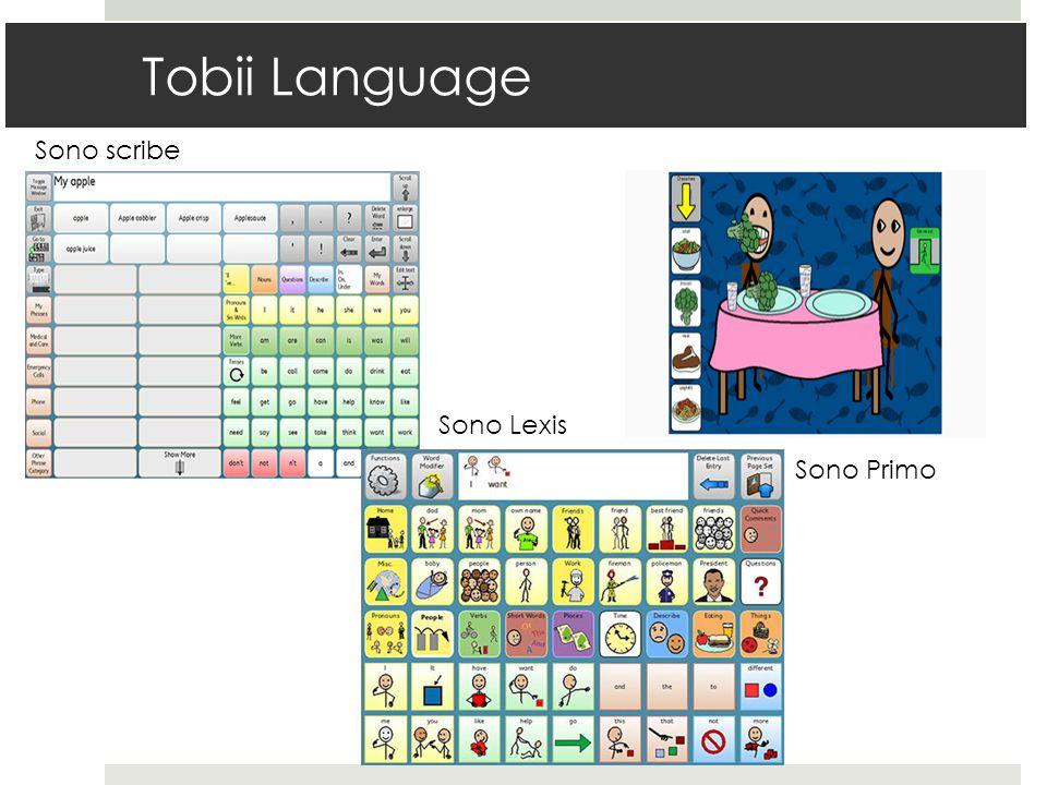 Tobii Language Sono scribe Sono Lexis Sono Primo