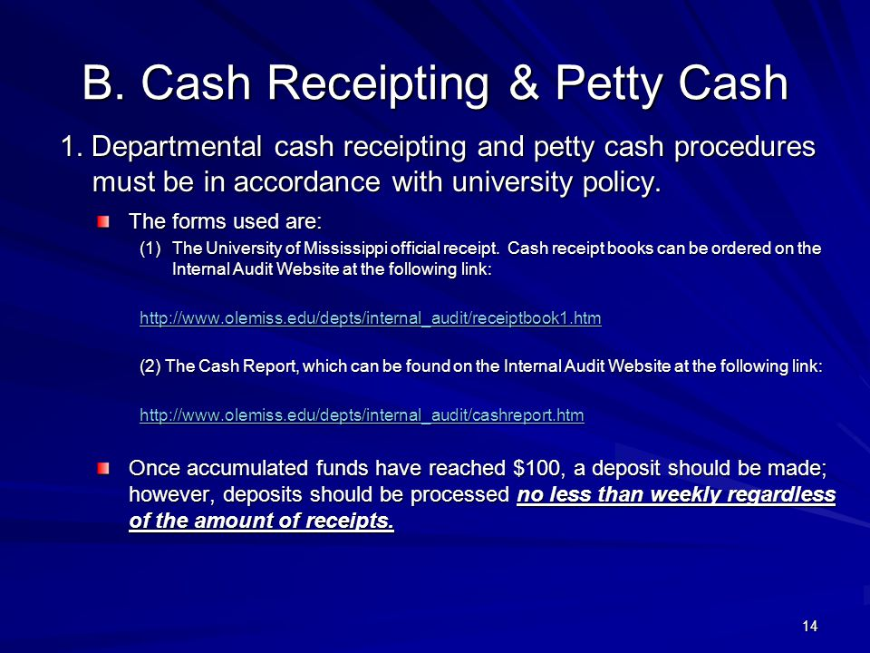 B.Cash Receipting & Petty Cash 1.