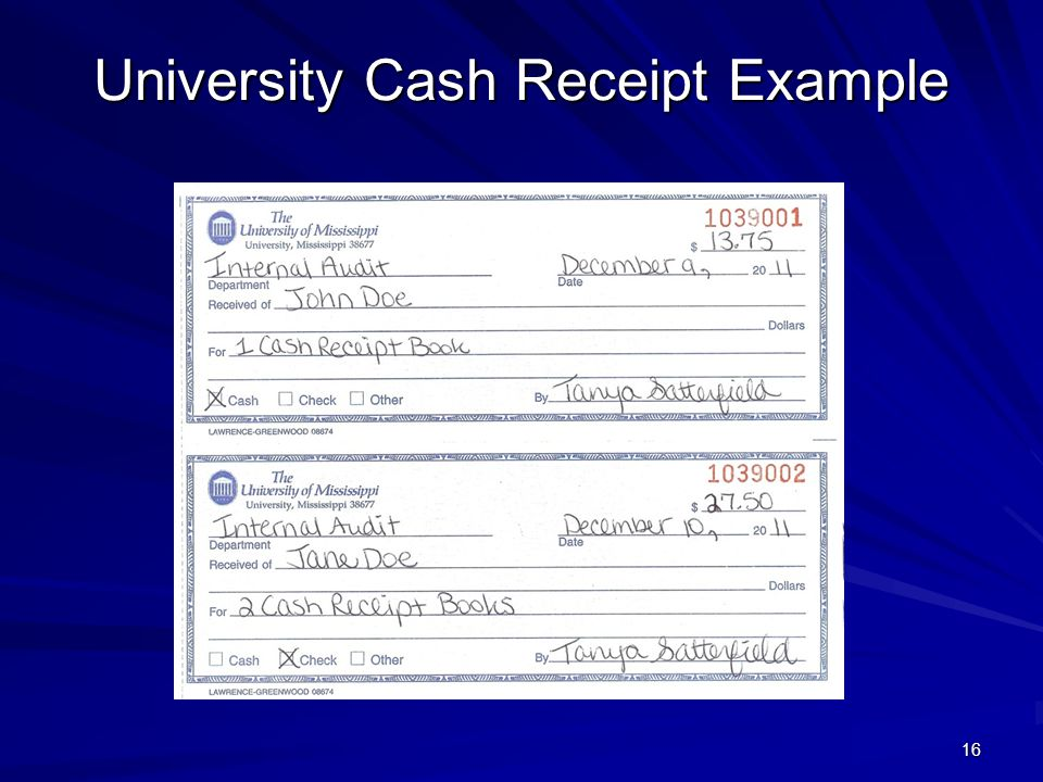 University Cash Receipt Example 16