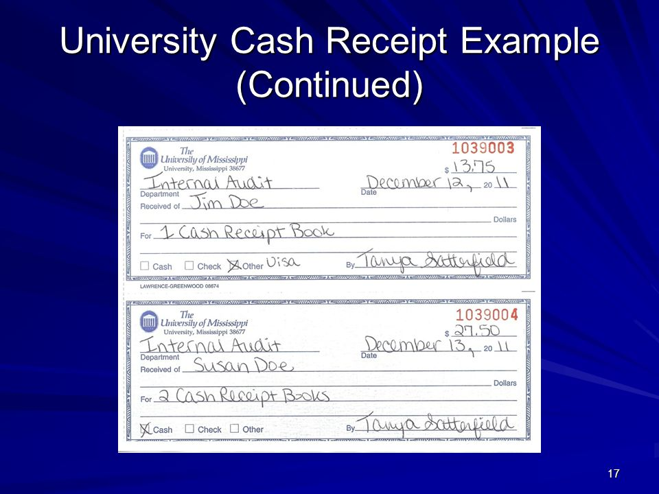 University Cash Receipt Example (Continued) 17