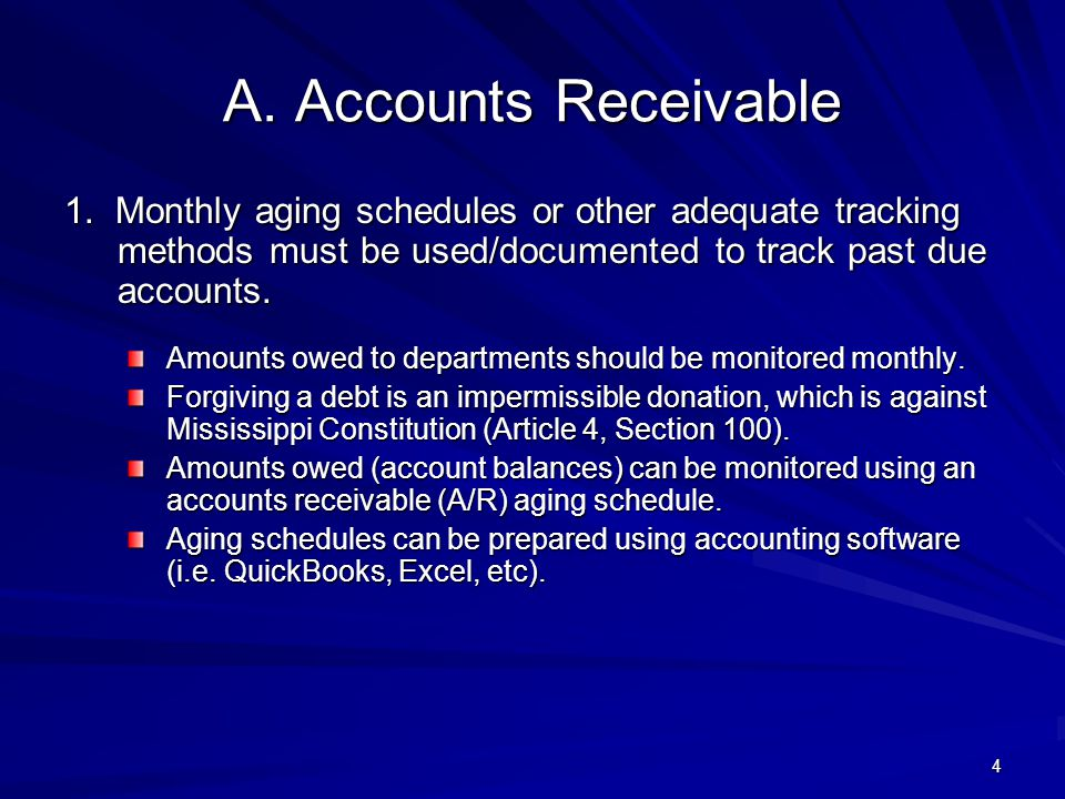 A.Accounts Receivable Amounts owed to departments should be monitored monthly.