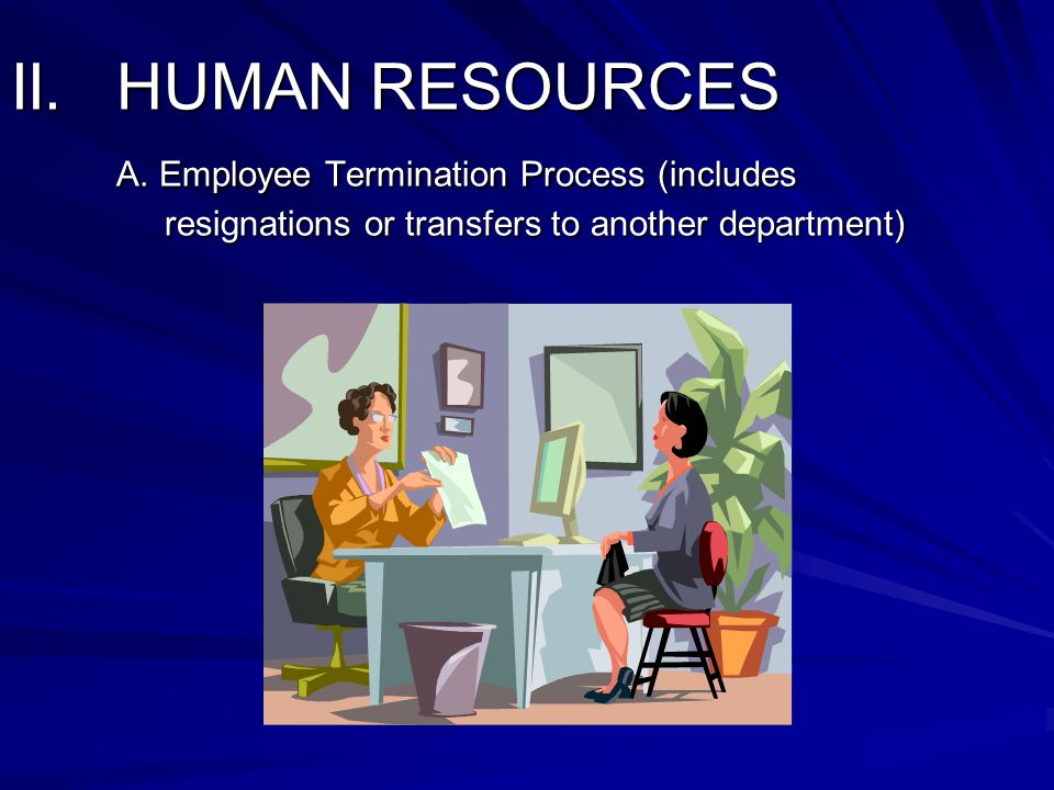 II. HUMAN RESOURCES A. Employee Termination Process (includes resignations or transfers to another department)