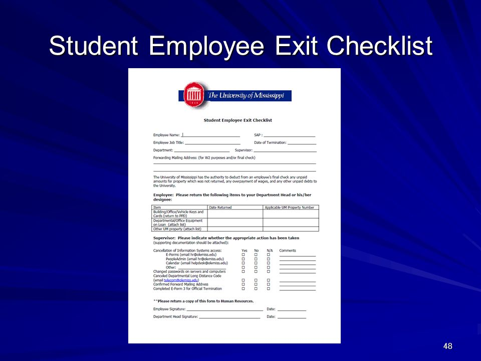 Student Employee Exit Checklist 48