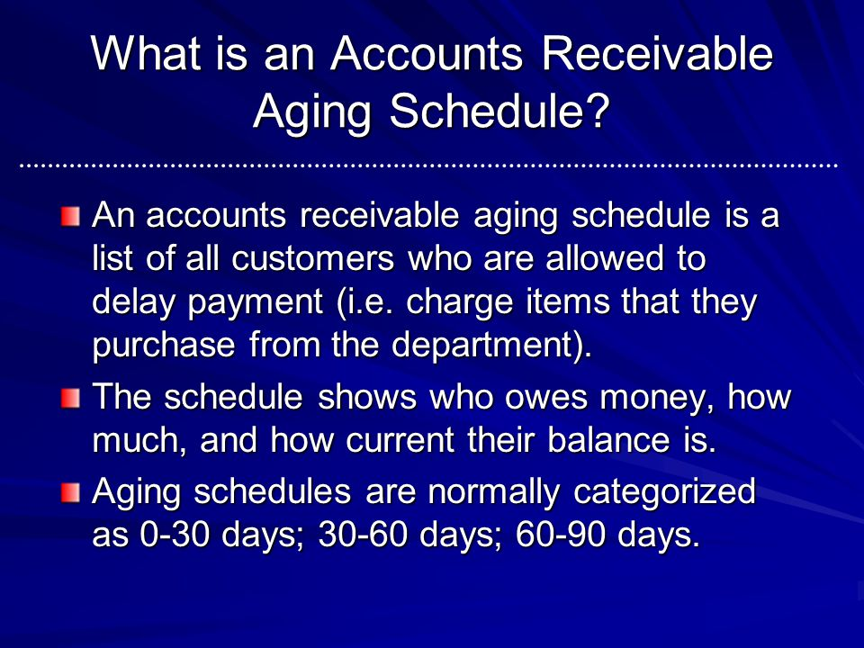 What is an Accounts Receivable Aging Schedule? An accounts receivable aging schedule is a list of all customers who are allowed to delay payment (i.e.