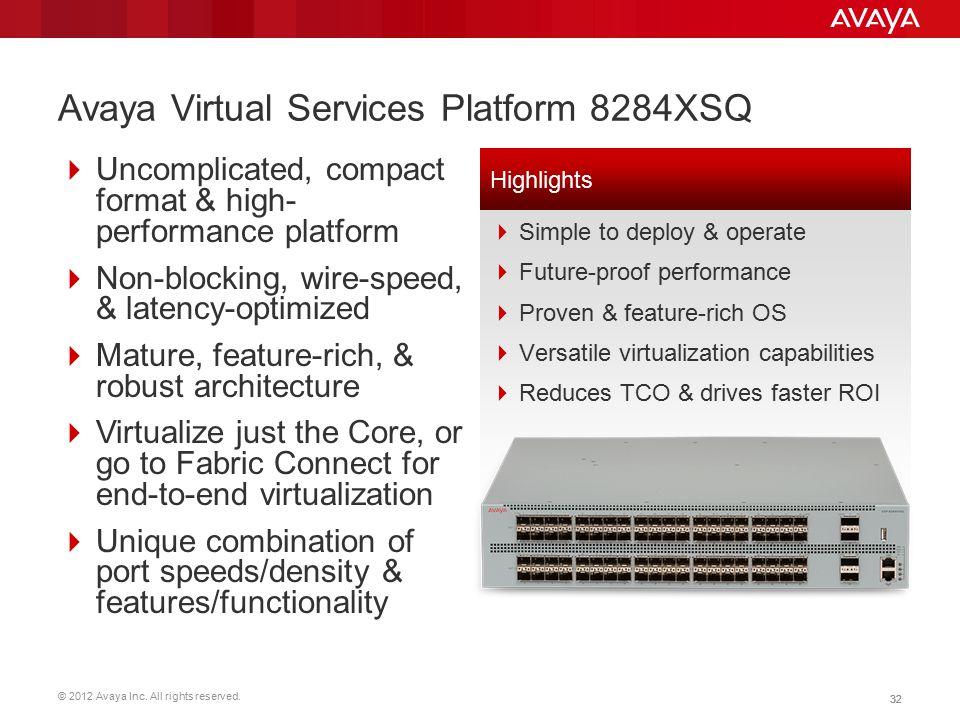 © 2012 Avaya Inc. All rights reserved. 32 Avaya Virtual Services Platform 8284XSQ  Uncomplicated, compact format & high- performance platform  Non-b