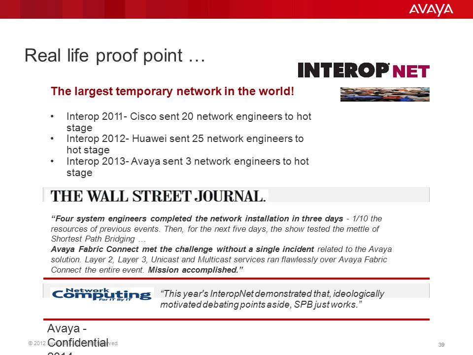 © 2012 Avaya Inc. All rights reserved. 39 Real life proof point … The largest temporary network in the world! Interop 2011- Cisco sent 20 network engi