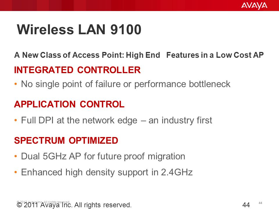 © 2012 Avaya Inc. All rights reserved. 44 © 2011 Avaya Inc. All rights reserved.44 A New Class of Access Point: High End Features in a Low Cost AP INT