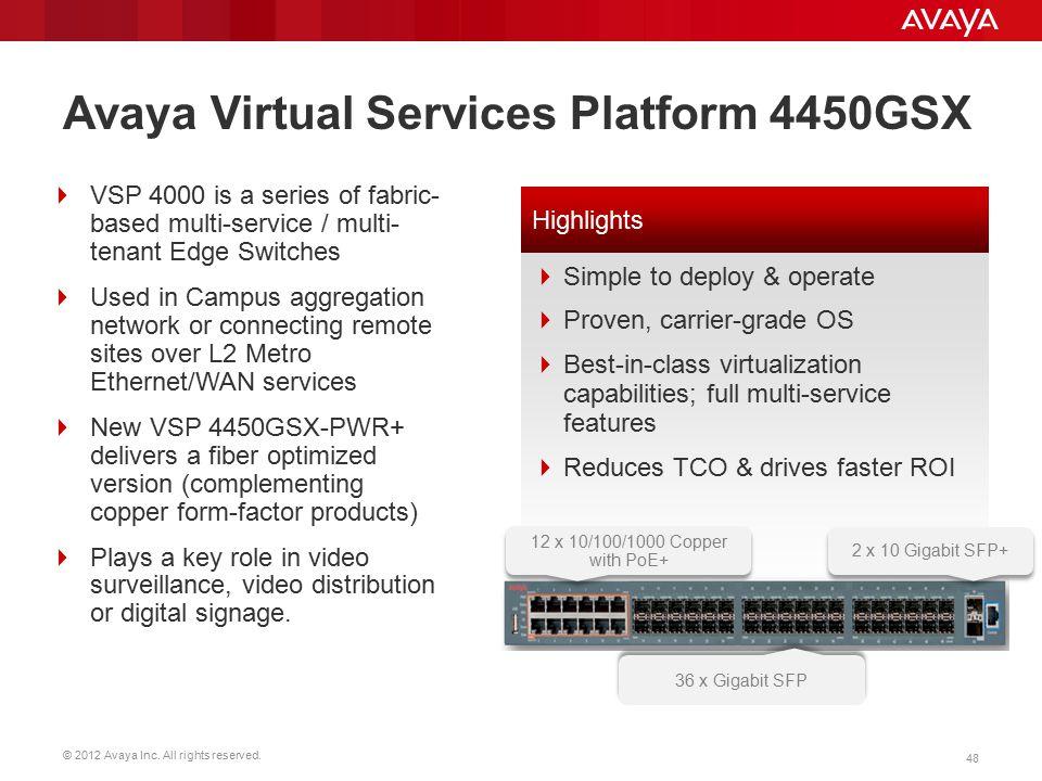 © 2012 Avaya Inc. All rights reserved. 48 Avaya Virtual Services Platform 4450GSX  VSP 4000 is a series of fabric- based multi-service / multi- tenan
