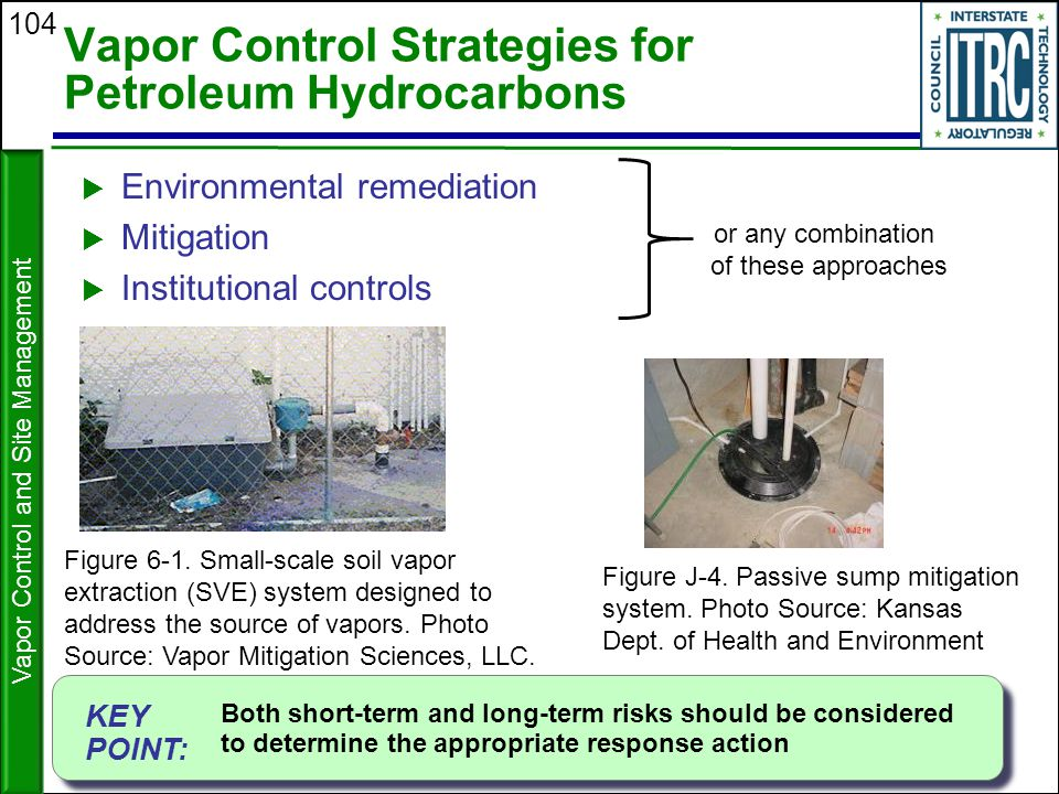 104 Vapor Control Strategies for Petroleum Hydrocarbons  Environmental remediation  Mitigation  Institutional controls or any combination of these