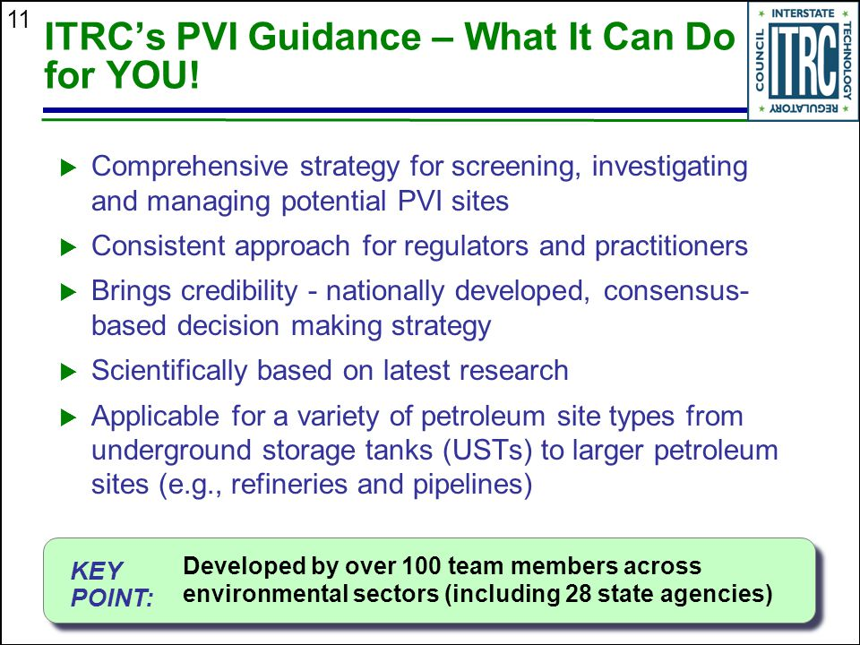 11 ITRC's PVI Guidance – What It Can Do for YOU!  Comprehensive strategy for screening, investigating and managing potential PVI sites  Consistent a