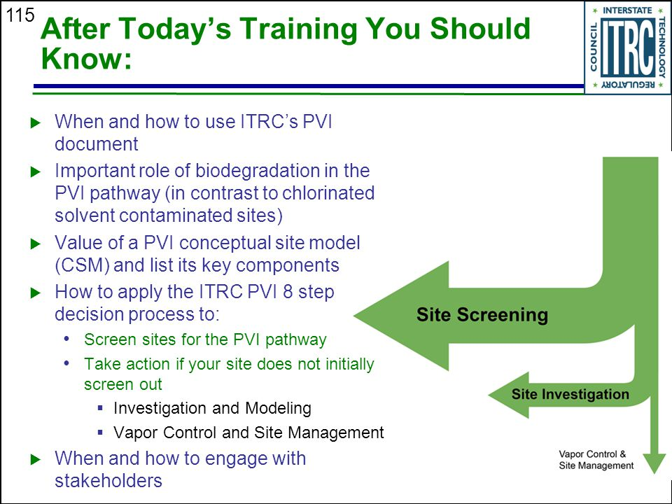 115 After Today's Training You Should Know:  When and how to use ITRC's PVI document  Important role of biodegradation in the PVI pathway (in contra