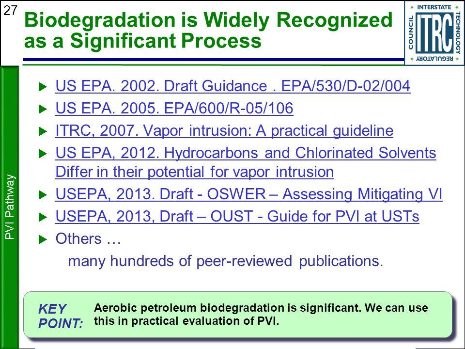 27 Biodegradation is Widely Recognized as a Significant Process  US EPA. 2002. Draft Guidance. EPA/530/D-02/004 US EPA. 2002. Draft Guidance. EPA/530