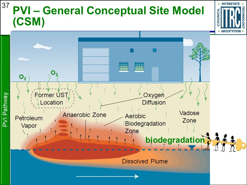 37 PVI – General Conceptual Site Model (CSM) PVI Pathway biodegradation Vadose Zone Oxygen Diffusion Aerobic Biodegradation Zone Anaerobic Zone Dissol