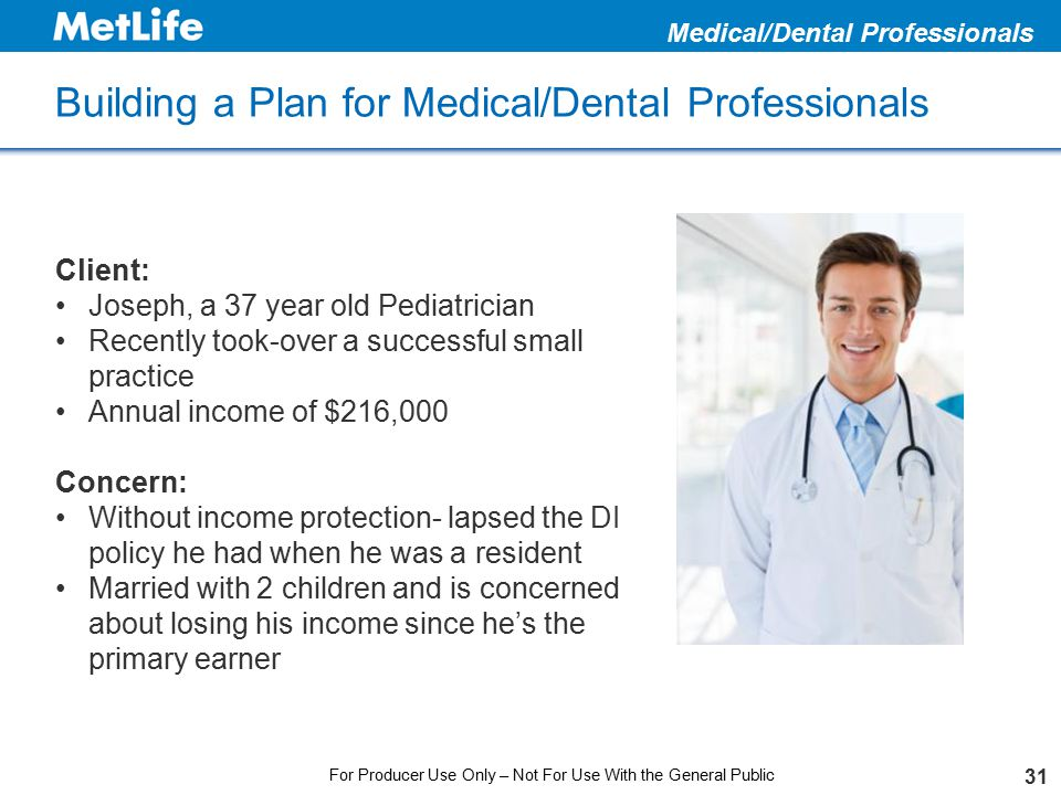 Building a Plan for Medical/Dental Professionals 31 Medical/Dental Professionals Client: Joseph, a 37 year old Pediatrician Recently took-over a succe