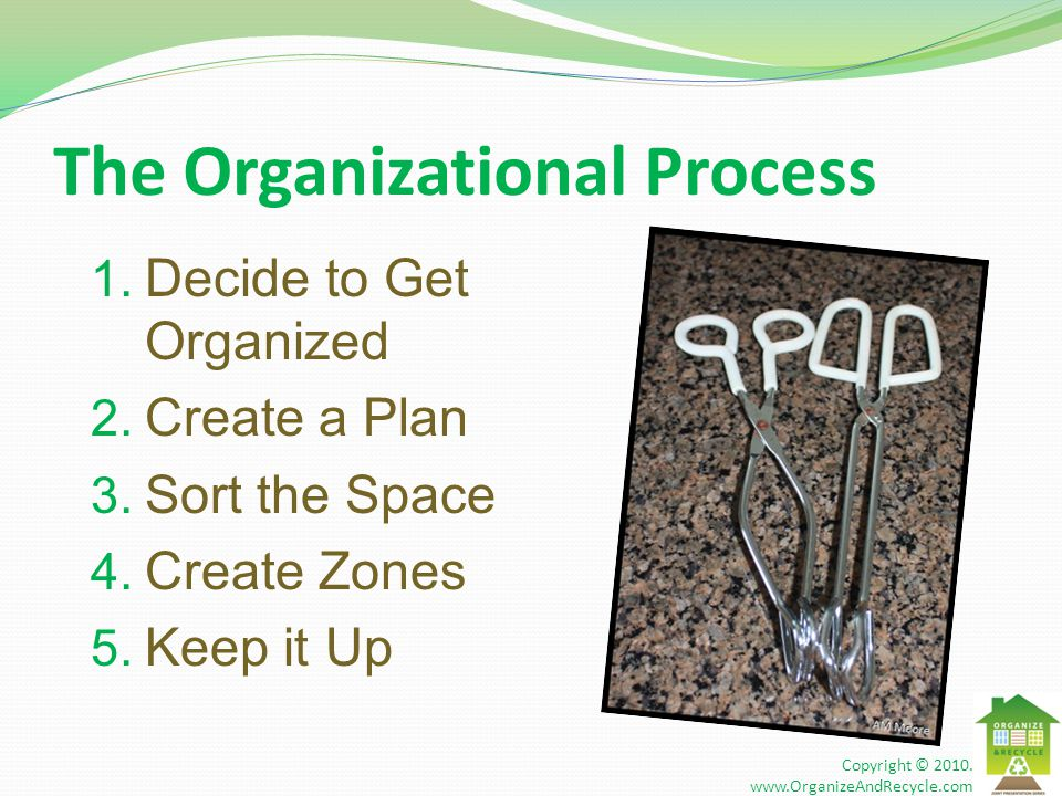 The Organizational Process 1. Decide to Get Organized 2. Create a Plan 3. Sort the Space 4. Create Zones 5. Keep it Up Copyright © 2010. www.OrganizeA