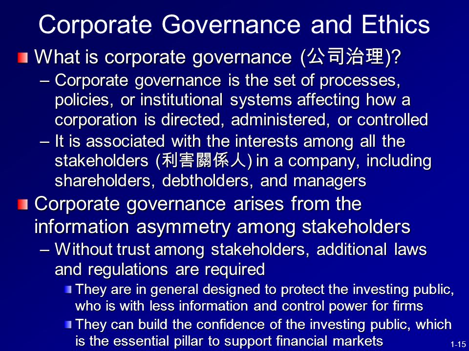 1-15 Corporate Governance and Ethics What is corporate governance ( 公司治理 ).
