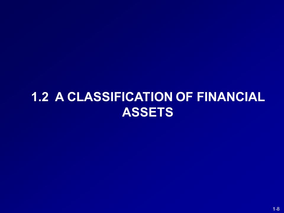 1-8 1.2 A CLASSIFICATION OF FINANCIAL ASSETS