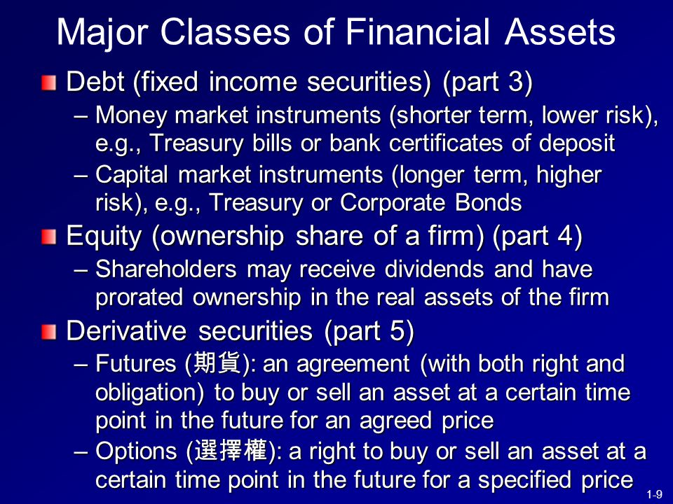 1-9 Major Classes of Financial Assets Debt (fixed income securities) (part 3) –Money market instruments (shorter term, lower risk), e.g., Treasury bills or bank certificates of deposit –Capital market instruments (longer term, higher risk), e.g., Treasury or Corporate Bonds Equity (ownership share of a firm) (part 4) –Shareholders may receive dividends and have prorated ownership in the real assets of the firm Derivative securities (part 5) –Futures ( 期貨 ): an agreement (with both right and obligation) to buy or sell an asset at a certain time point in the future for an agreed price –Options ( 選擇權 ): a right to buy or sell an asset at a certain time point in the future for a specified price