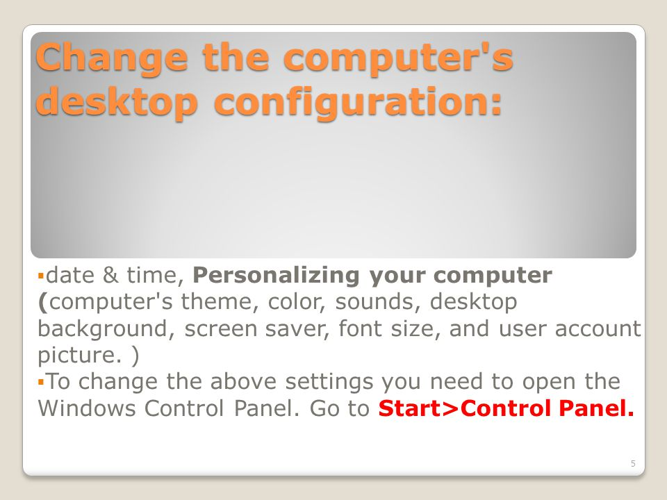 Date & Time Date and Time – to change these settings, click on the Date, Time in the Control Panel window.