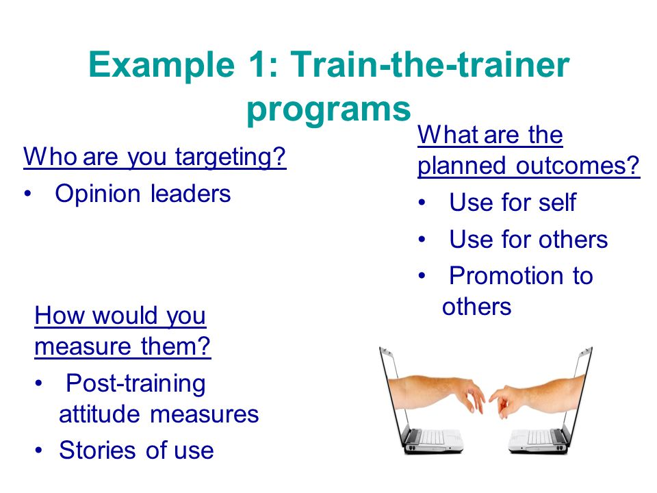 Example 1: Train-the-trainer programs Who are you targeting.
