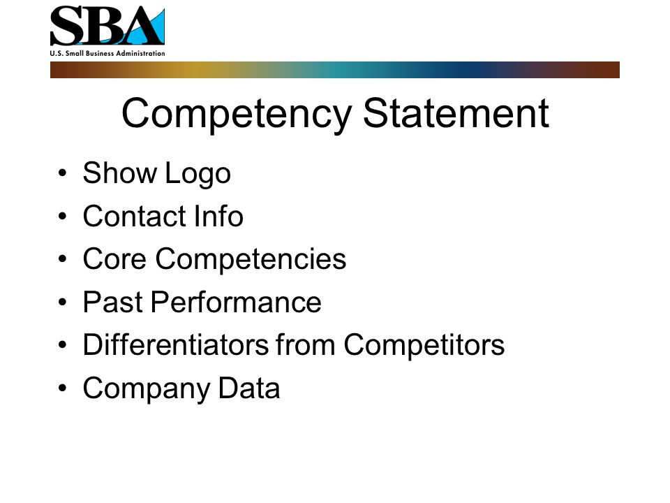 Competency Statement Show Logo Contact Info Core Competencies Past Performance Differentiators from Competitors Company Data