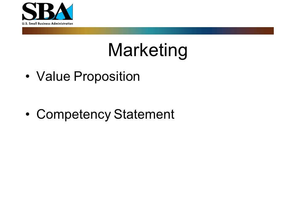 Marketing Value Proposition Competency Statement