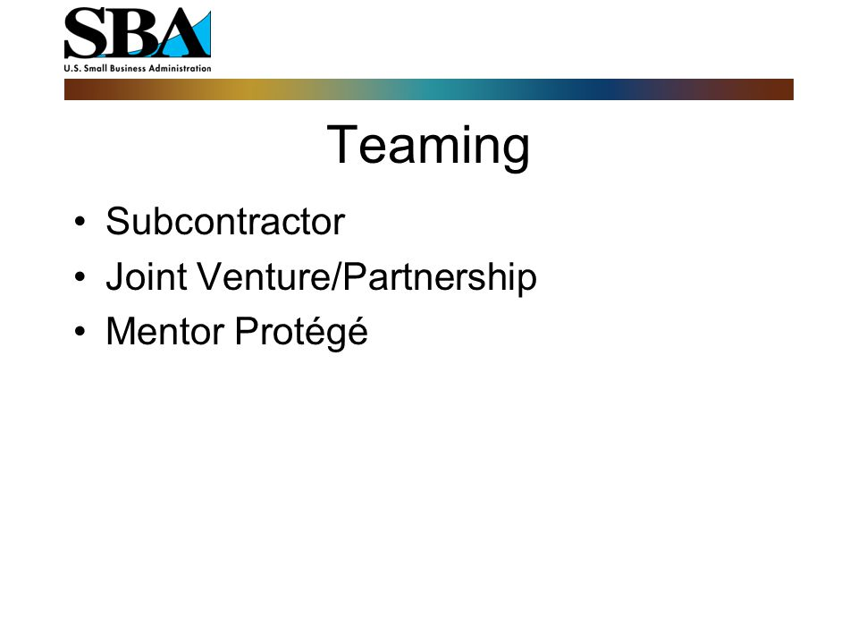 Teaming Subcontractor Joint Venture/Partnership Mentor Protégé