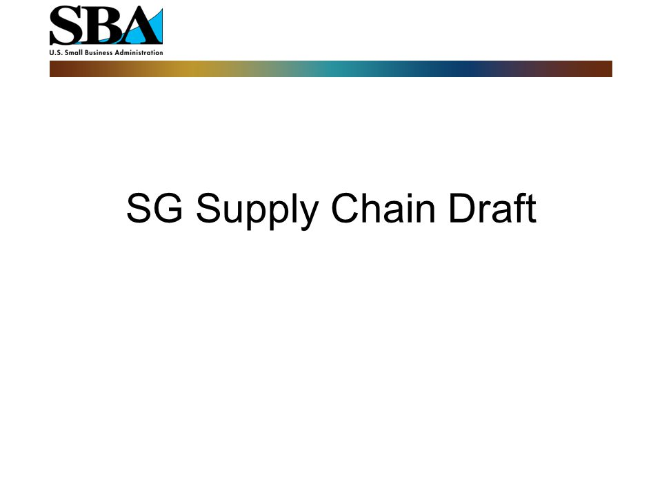 SG Supply Chain Draft